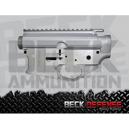 BECK DEFENSE STRIPPED UPPER/LOWER RECEIVER SET ---BILLET---SILVER